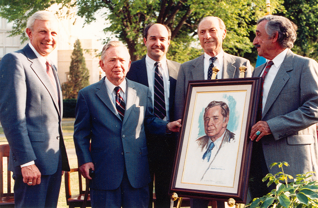 Speaker Carl Albert being presented with a portrait on the day his collection was opened to the public