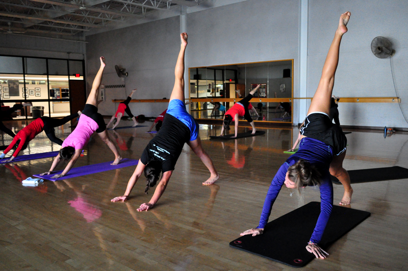 students in group fitness class