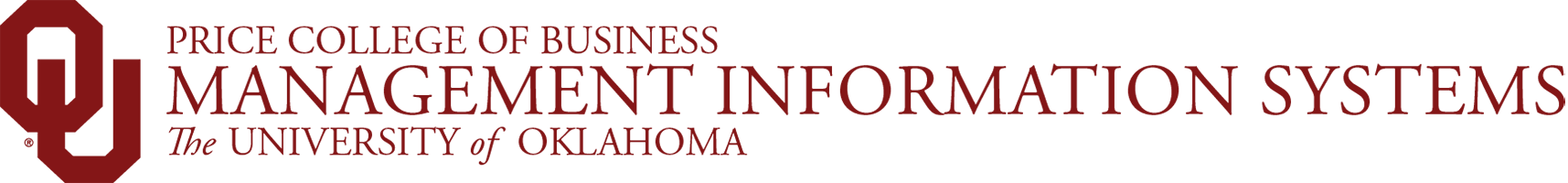 Price College of Business, Management Information Systems, The University of Oklahoma website wordmark