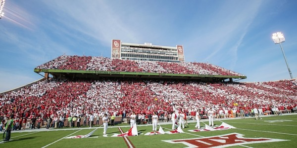 Football stadium with crimson and cream stripes