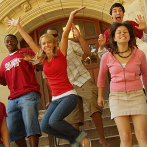 Happy Students on Steps