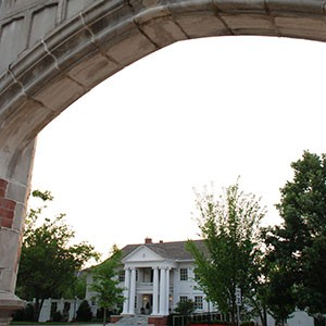 Boyd House at Sunset Through an Arch