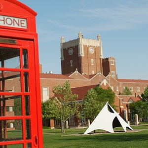 Oklahoma Memorial Union with Red Phone Booth in Foreground