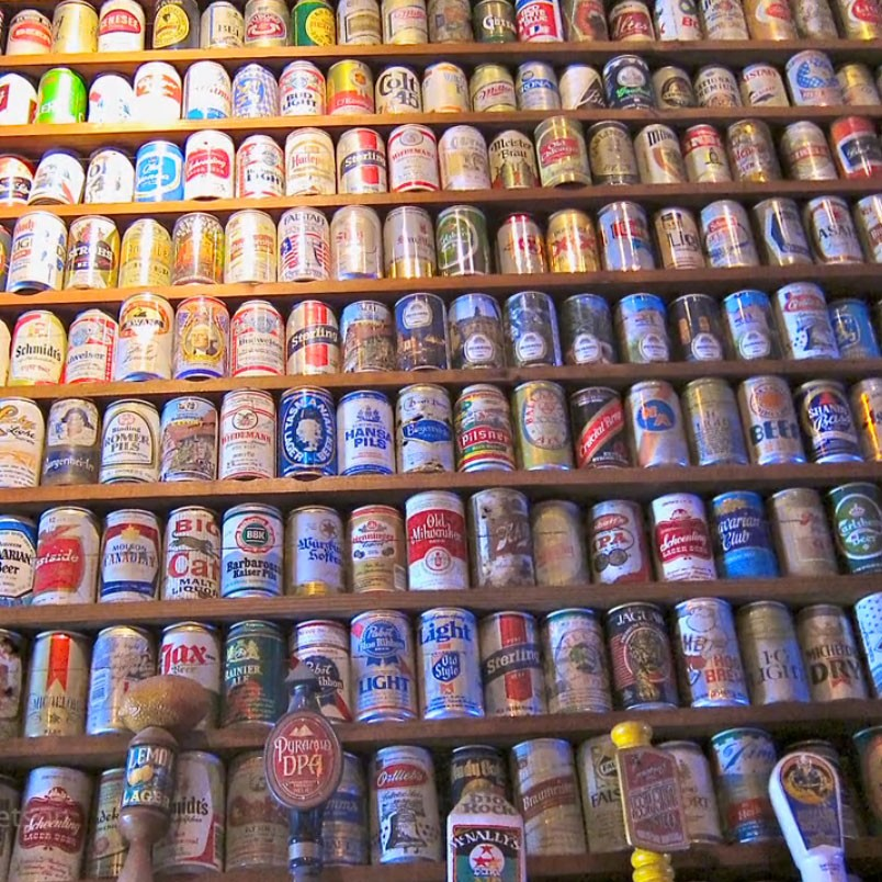 Wall of beer cans