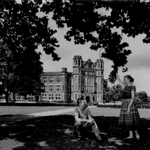Old, black and white photo of the University of Oklahoma