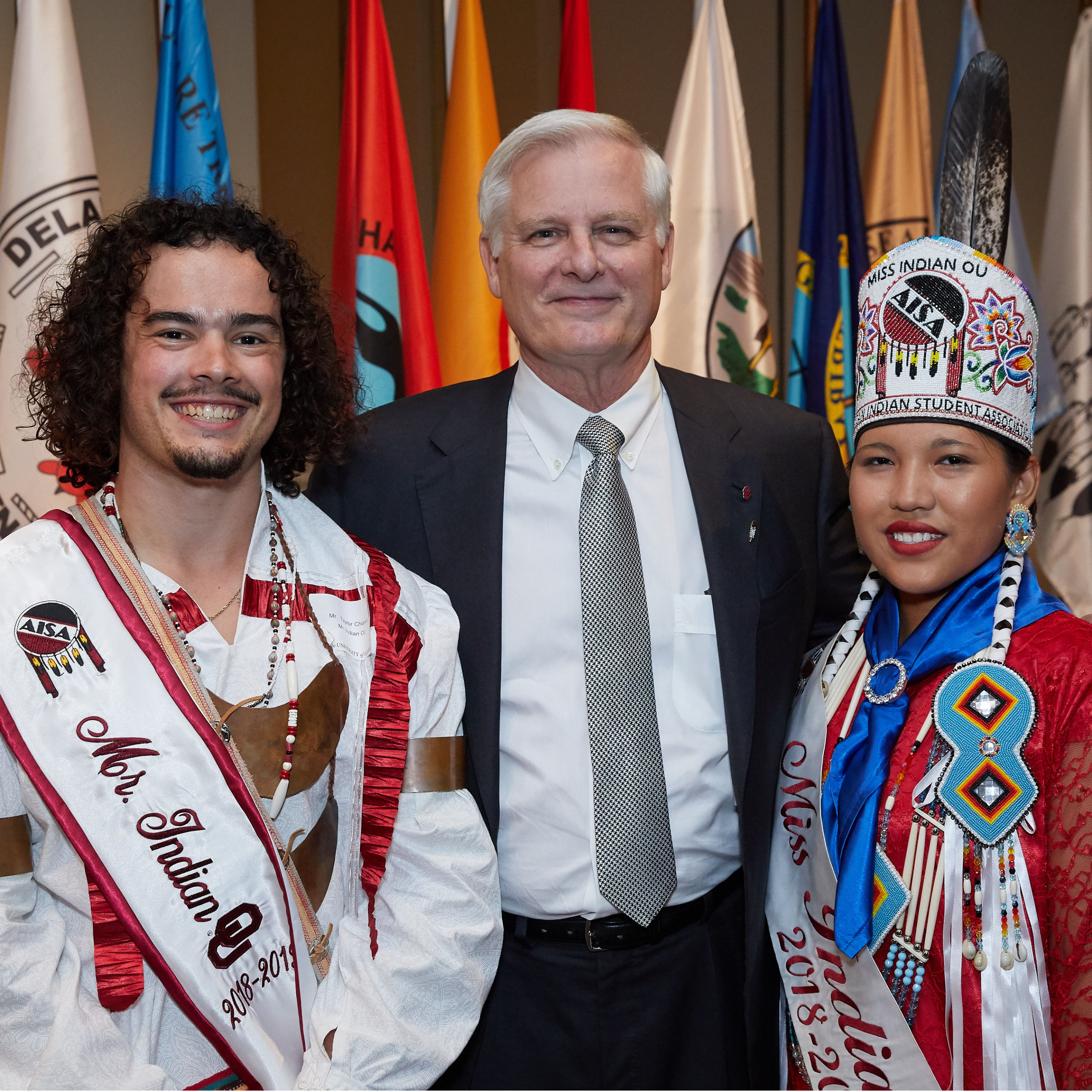 President Gallogly with Mr. and Miss Indian OU