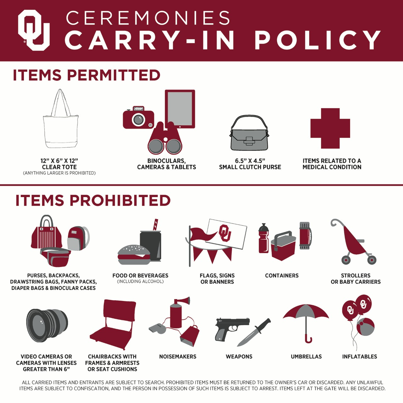 carry in policy graphic, same listed items as text list above