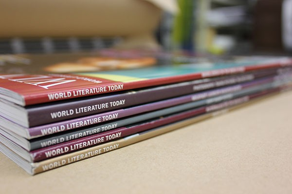 Stack of World Literature Today magazines, WLT